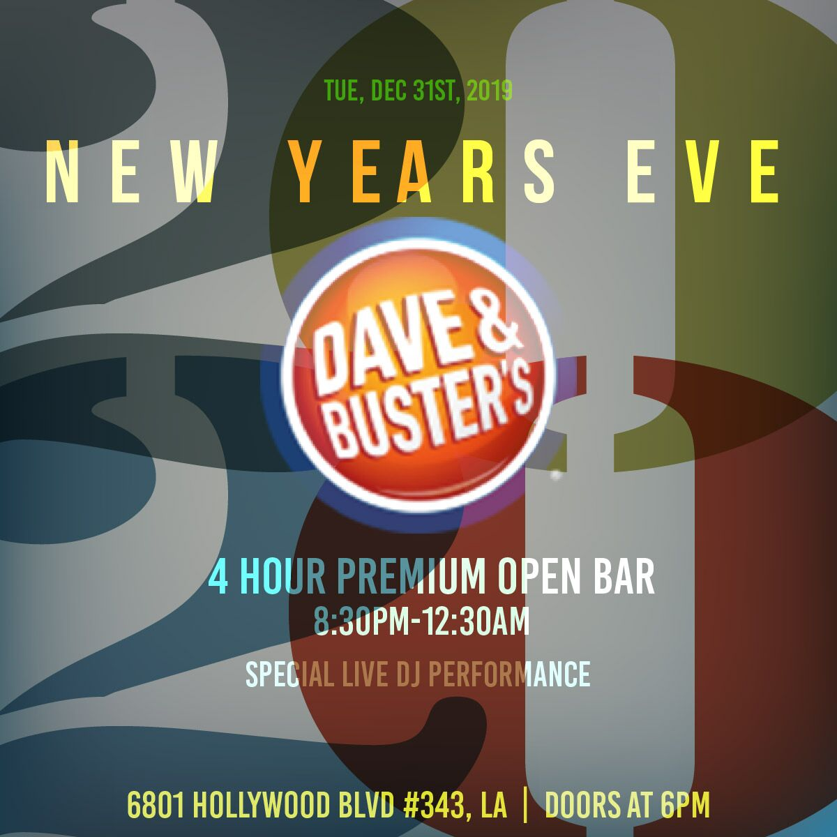Dave & Buster's LA | VIP NYE Party | Buy Tickets Now